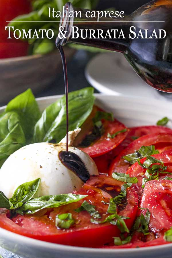 Healthy, simple, and fresh! This summer recipe for tomato burrata salad is drizzled with balsamic and topped with basil for an impressive and easy side. | justalittlebitofbacon.com #summerrecipes #burrata #italianrecipes #tomatosalad #saladrecipes #tomatoes