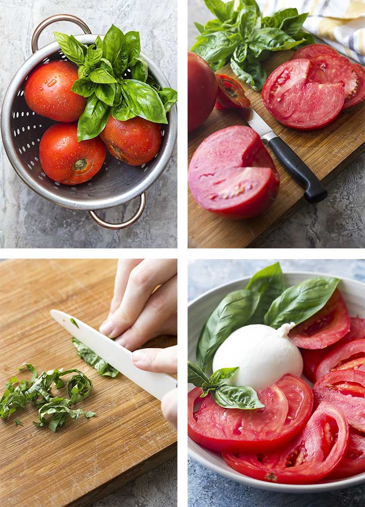 Step by step on how to make tomato burrata salad.
