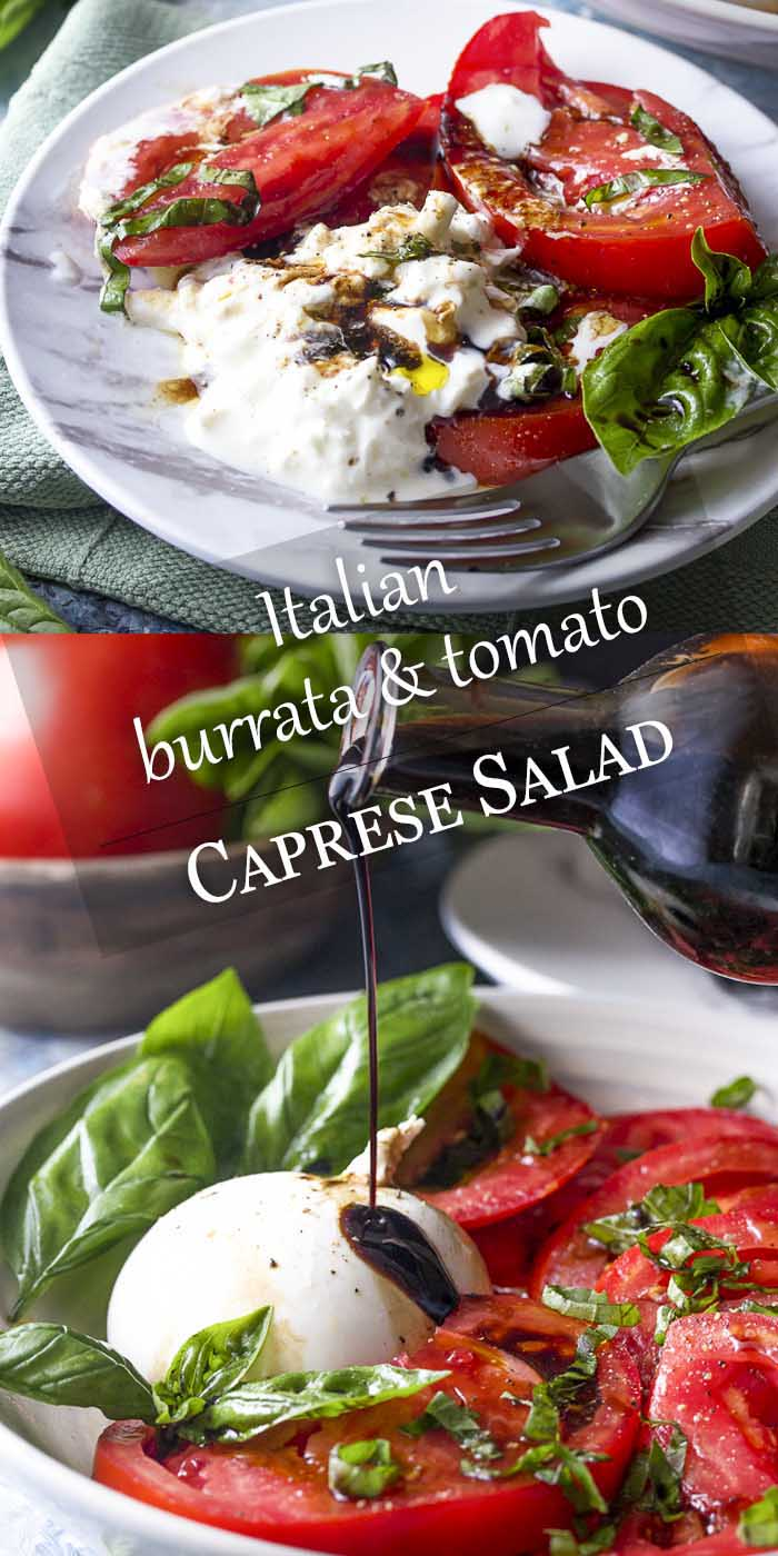 Healthy, simple, and fresh! This summer recipe for tomato burrata salad is drizzled with balsamic and topped with basil for an impressive and easy side.   justalittlebitofbacon.com #summerrecipes #burrata #italianrecipes #tomatosalad #saladrecipes #tomatoes