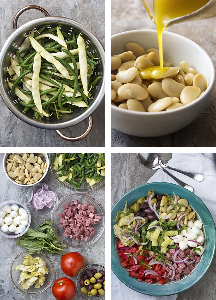 Step by step on how to make Italian antipasto salad.
