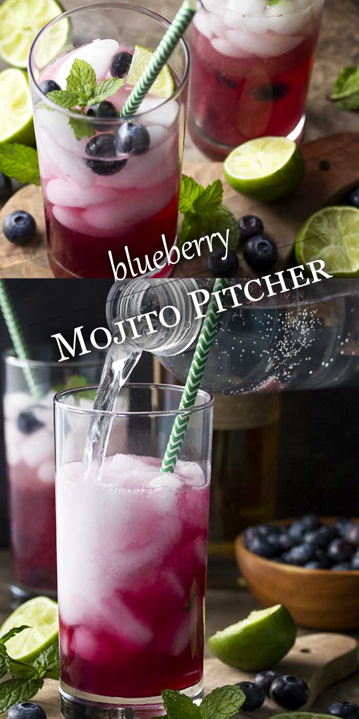 My blueberry mojito pitcher is a fun and easy summer cocktail full of fresh blueberries, mint, lime juice, rum, and simple syrup. Great for a party or a crowd. | justalittlebitofbacon.com #drinkrecipes #cocktails #mojitos #blueberries