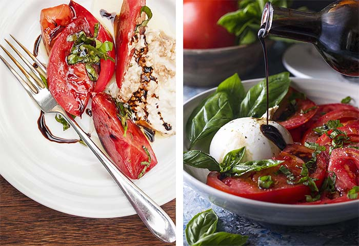 Side by side photos of tomato burrata salad showing an old photo and a new photo.