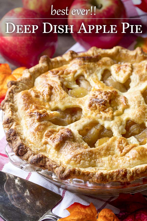 This is the best ever homemade deep dish apple pie! It's twice cooked for twice the apples - perfect for holidays, fall days, and Thanksgiving. | justalittlebitofbacon.com #applepie #thanksgiving #thanksgivingrecipes #dessertrecipe #pierecipe #holidaydessert