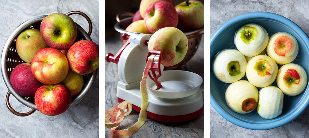 Step by step on how to make deep dish apple pie - washing and peeling the apples.