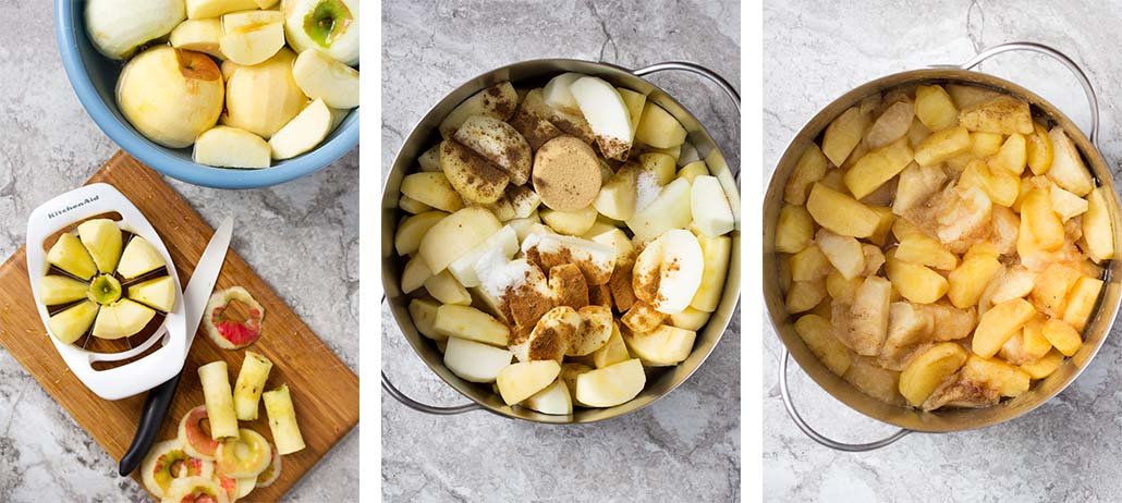 Step by step on how to make deep dish apple pie - cutting the apples and cooking them down.