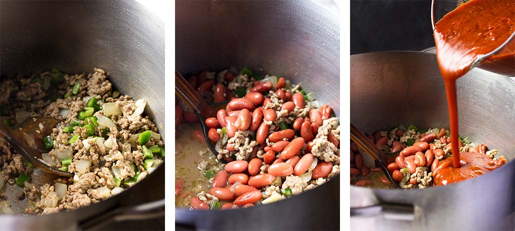 Step by step on how to make chili: sauting the meat, adding the beans, adding the tomatoes.