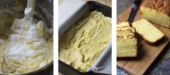 Step by step on how to make orange pound cake - fold in egg whites, filling the pan, baking the cake