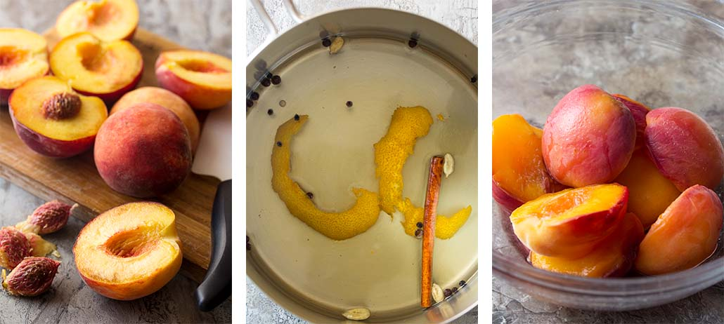 Step by step on how to make honey poached peaches.