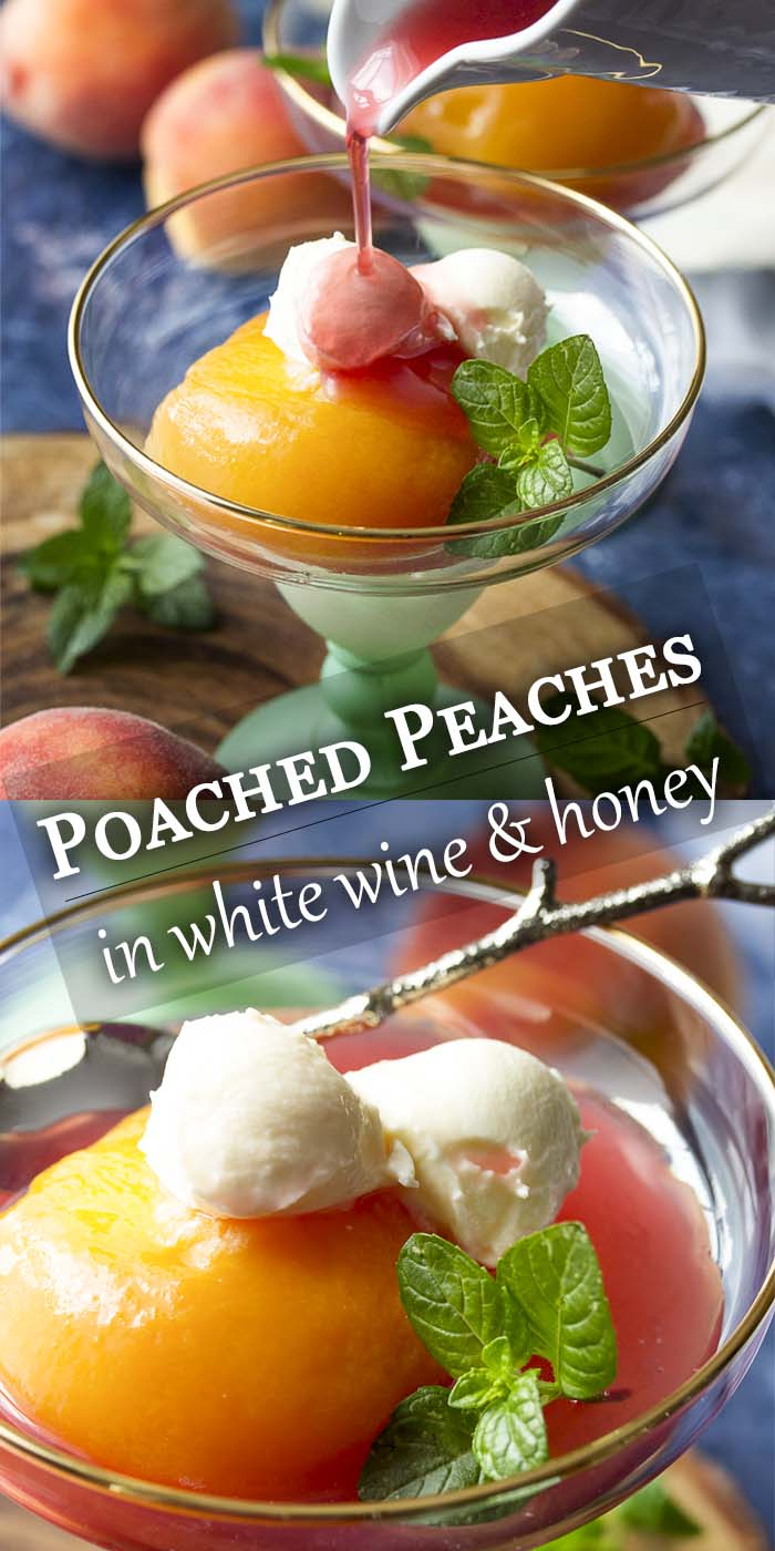 The flavors of cinnamon, cardamom, and allspice infuse these Moscato wine and honey poached peaches, creating a simple and elegant summer dessert. Serve the peaches with their spiced syrup over cake, with ice cream, or with a dollop of mascarpone. | justalittlebitofbacon.com #italianrecipe #summerrecipe #peaches #dessertrecipe