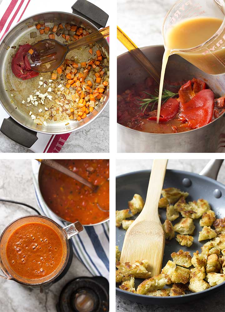 Step by step photos on how to make red pepper tomato soup and fried croutons.