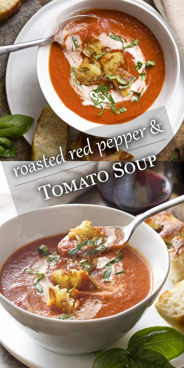 Comfort food at its best! Roasted red pepper and tomato soup is easy, creamy, and perfect for weeknight dinner or for company. Great with fried croutons, slices of crusty bread, or grilled cheese. | justalittlebitofbacon.com #souprecipes #tomatosoup #tomatoes #redpeppers #comfortfood