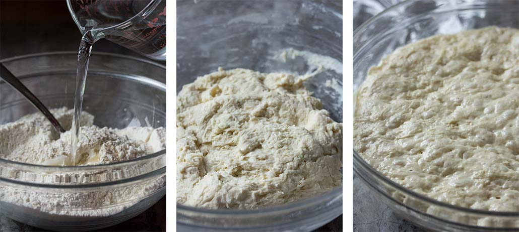 Step by step on how to make olive focaccia - mixing the dough and rising the dough.