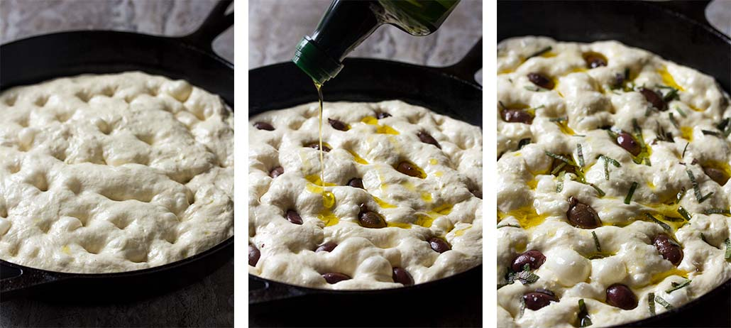 Step by step on how to prep olive focaccia for baking - spread it out in the skillet, dimpling the top, and topping with sage and olives.