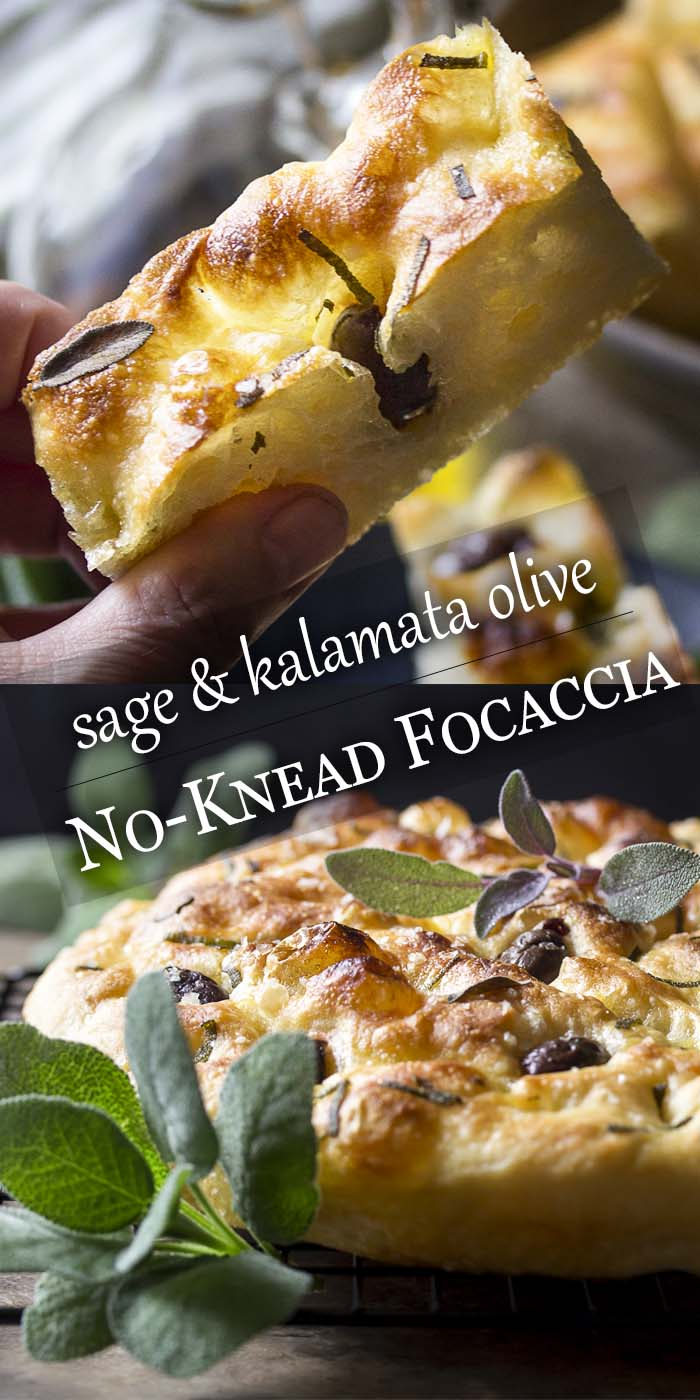 No-knead bread is so easy to make! Just stir everything together, let it rise, and bake. This recipe for sage and olive focaccia is baked right in a cast iron skillet for a soft and chewy interior and crispy crust. | justalittlebitofbacon.com #breadrecipes #focaccia #italianrecipe #castiron #nokneadbread