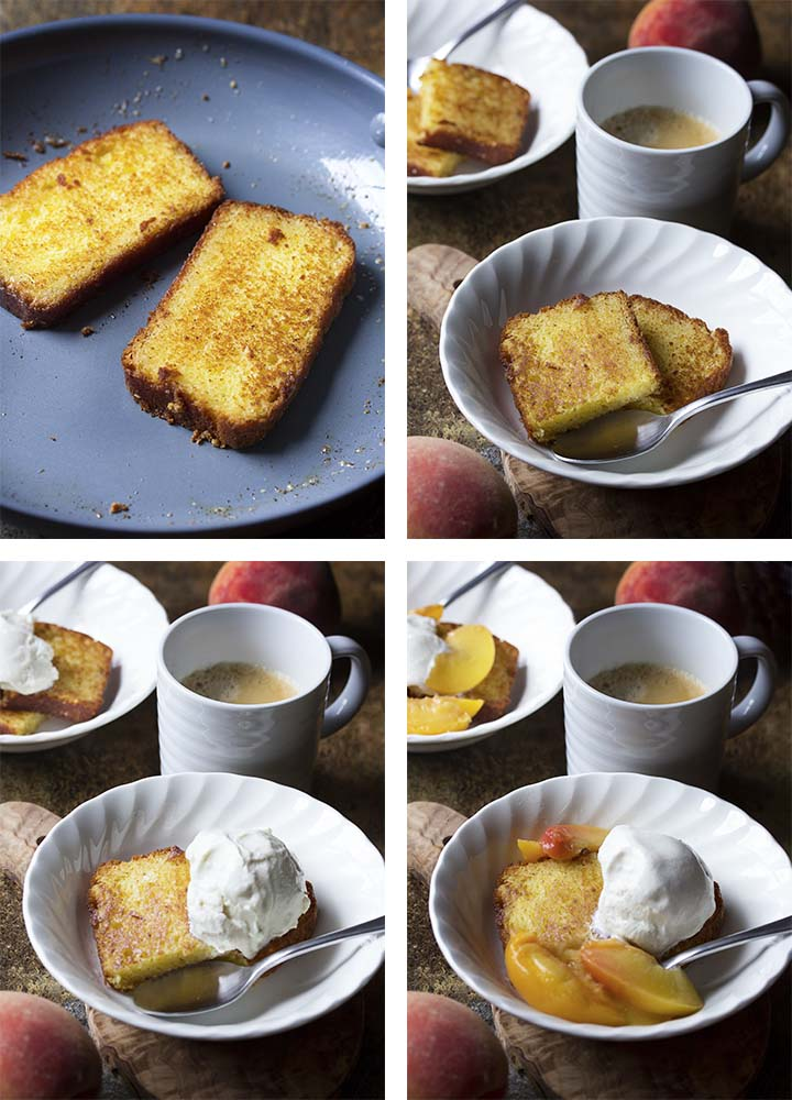 Step by step on how to make toasted pound cake topped with peaches.