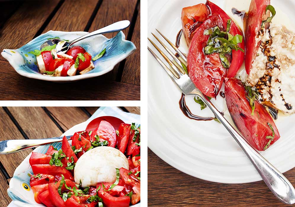 Collage of the original photos of tomata burrata salad, showing the salad on a serving platter and on plates.