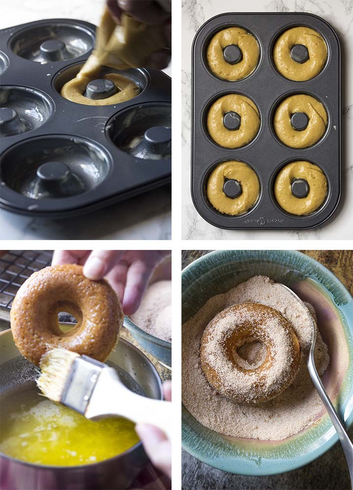 Step by step on how to make baked cider donuts - forming the donuts and covering them with cinnamon sugar.