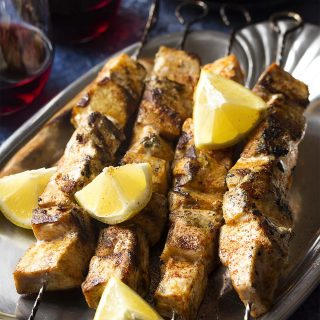 Turn swordfish steaks into a zesty Mediterranean Spanish tapas dish by grilling up these paprika rubbed swordfish kebabs. Great for dinner too! | justalittlebitofbacon.com #spanishrecipes #tapasrecipes #tapas #fishrecipes #grillrecipes