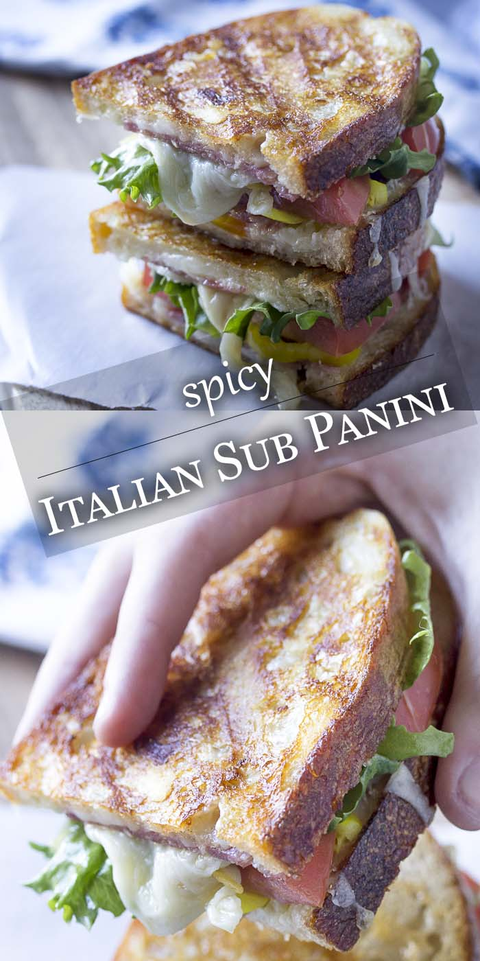 Close up of sandwich on a plate with text overlay - Italian Sub Panini.