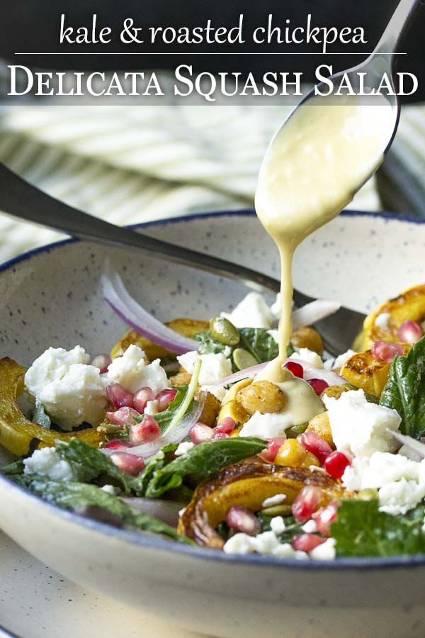 Spoon drizzling dressing into a bowl of salad with text overlay - Delicata Squash Salad.