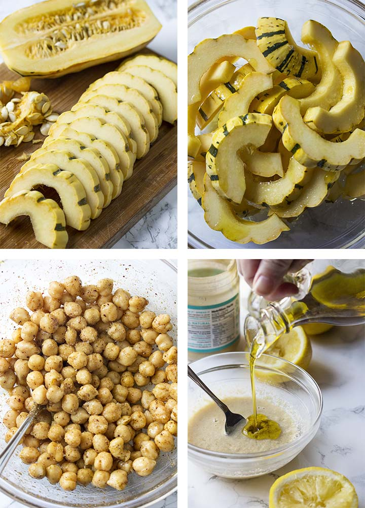 Step by step on how to make delicata squash salad.