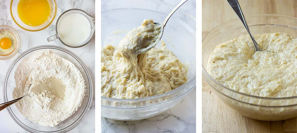 Step by step on how to mix the dough.