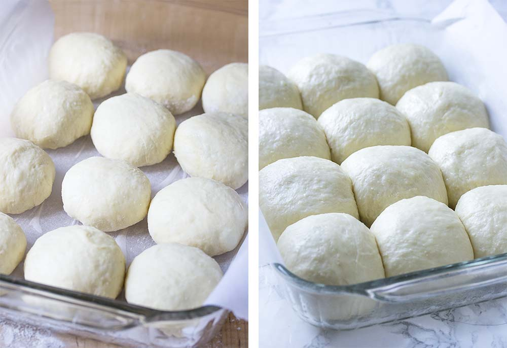 Step by step on how to make no-knead dinner rolls.
