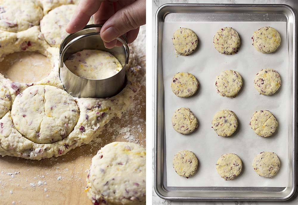 Step by step on how to make orange cranberry scones