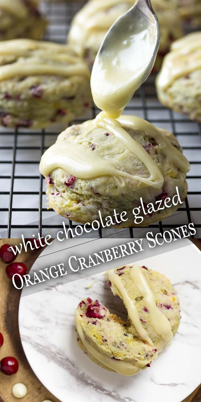 Tender, moist orange cranberry scones combine fresh cranberries and orange zest for plenty of zing and a white chocolate glaze to put them over the top. They make a great holiday treat, perfect to share with friends and family on Christmas morning or Thanksgiving. | justalittlebitofbacon.com #cranberries #thanksgivingrecipe #christmasrecipe #holidayrecipe #whitechocolate #cranberryscones #scones