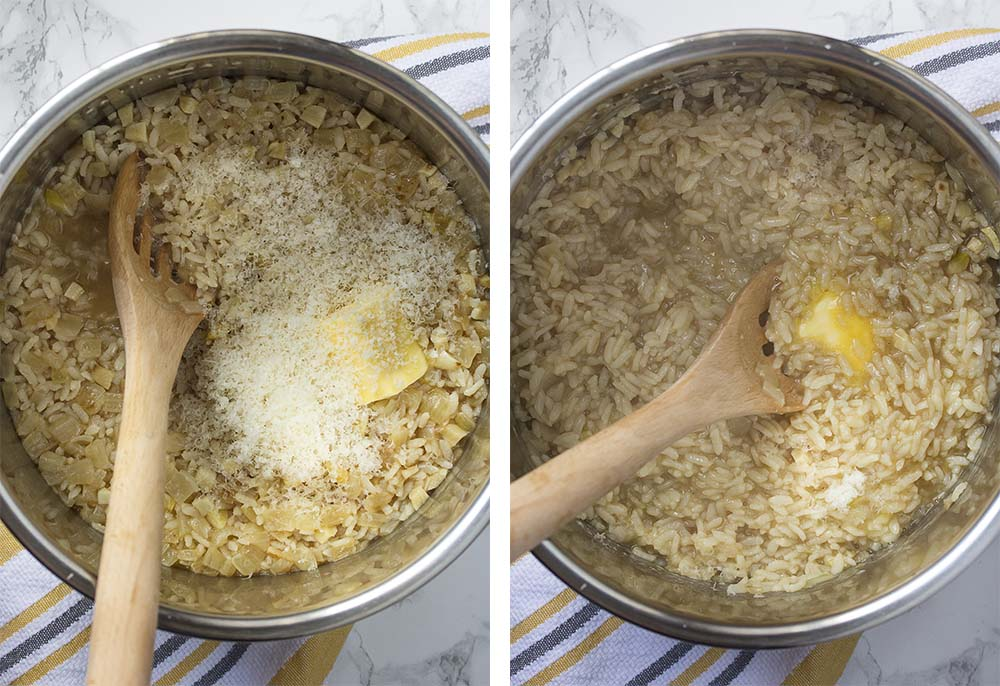 Step by step on how to make pressure cooker shrimp risotto.