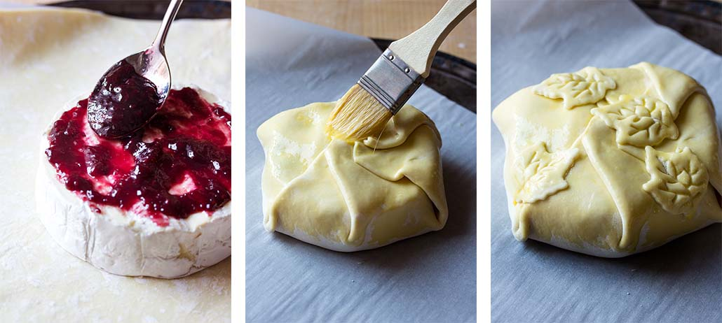 Step by step on how to make baked brie in puff pastry