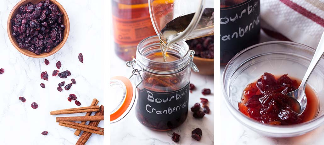 Step by step on how to make bourbon soaked cranberries.