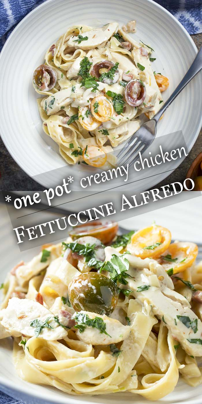 You'll love this easy, homemade recipe for creamy chicken fettuccine alfredo! Here is a skillet dinner all made in one pot full of tender chicken, tomatoes, and bacon. | justalittlebitofbacon.com #pasta #pastarecipe #italianrecipe #chickenalfredo #alfredo #onepotmeal #skilletdinner