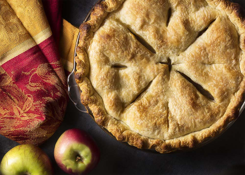 Top view of a classic two crust apple pie.