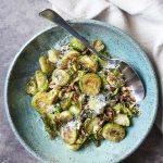 Roasted Brussels Sprouts with Balsamic, Parmesan, and Pecans