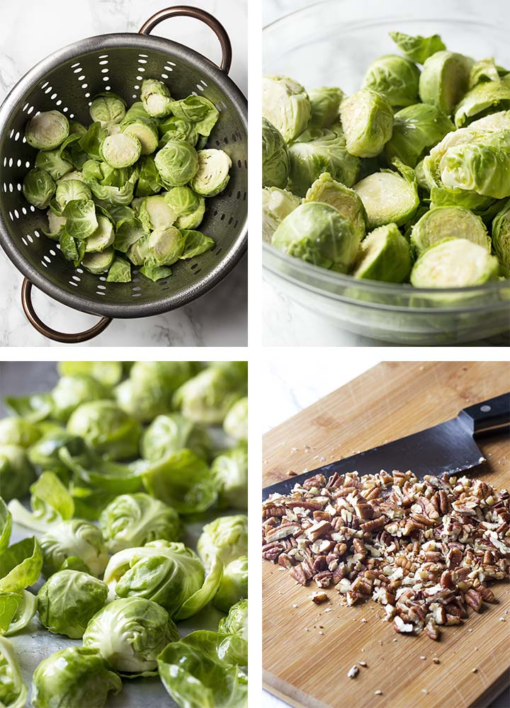 Step by step on how to make roasted brussels sprouts with balsamic.
