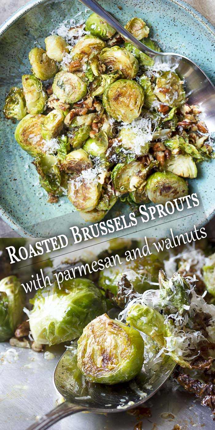 Roasted sprouts in a serving bowl and on a spoon with text overlay - Roasted Brussels Sprouts.