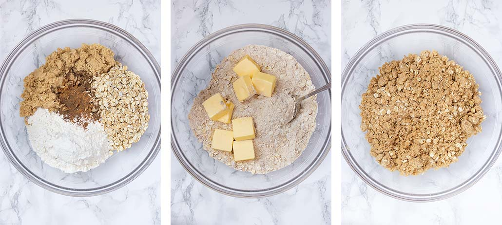 Step by step on how to make oatmeal topping.