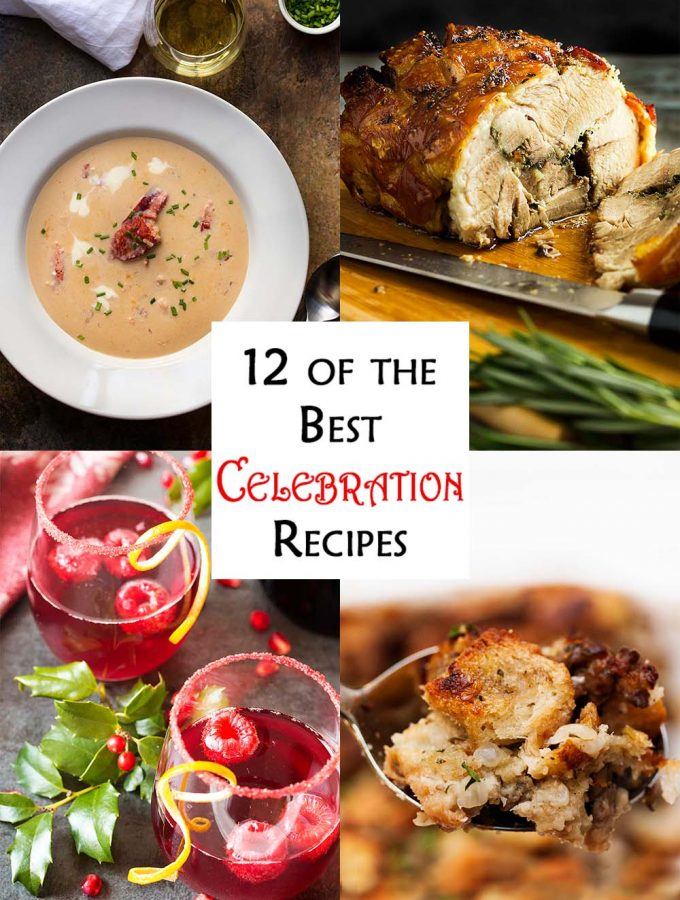 Holidays, parties, and gatherings are all times when you need the best celebration recipes! Here are some favorite appetizers, drinks, mains, and desserts. | justalittlebitofbacon.com #holidayrecipes #christmasrecipes #thanksgivingrecipes #holidays #parties