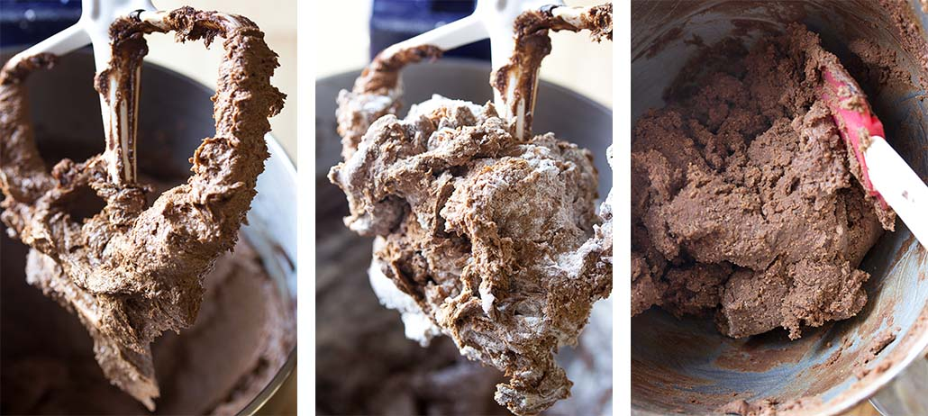Step by step how to make chocolate slice and bake cookies - mix the dough