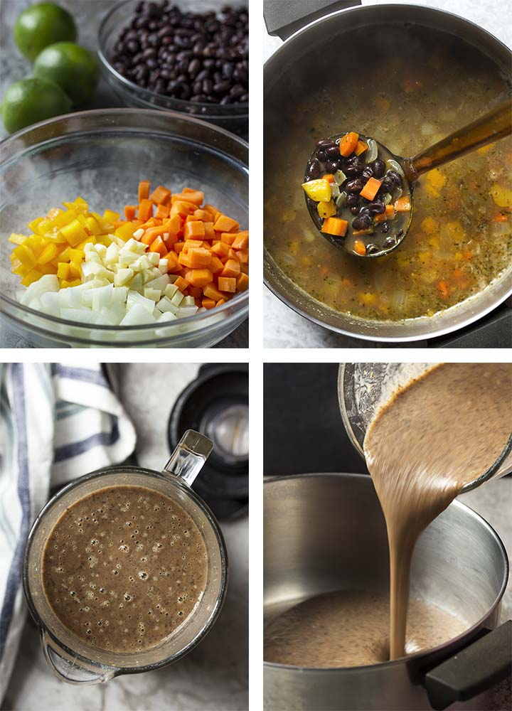 Step by step on how to make vegetarian black bean soup.