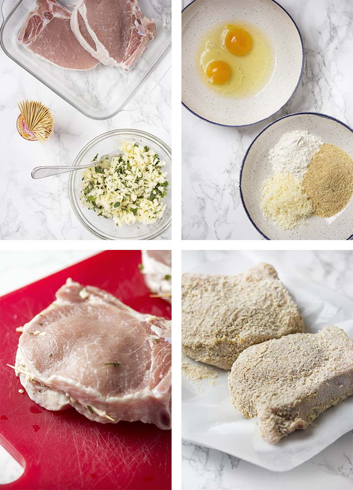 Step by step on how to stuff and bread the chops.