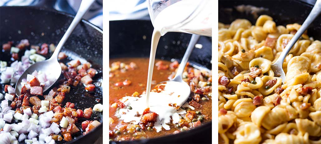 Step by step on how to make the pan sauce and pasta.