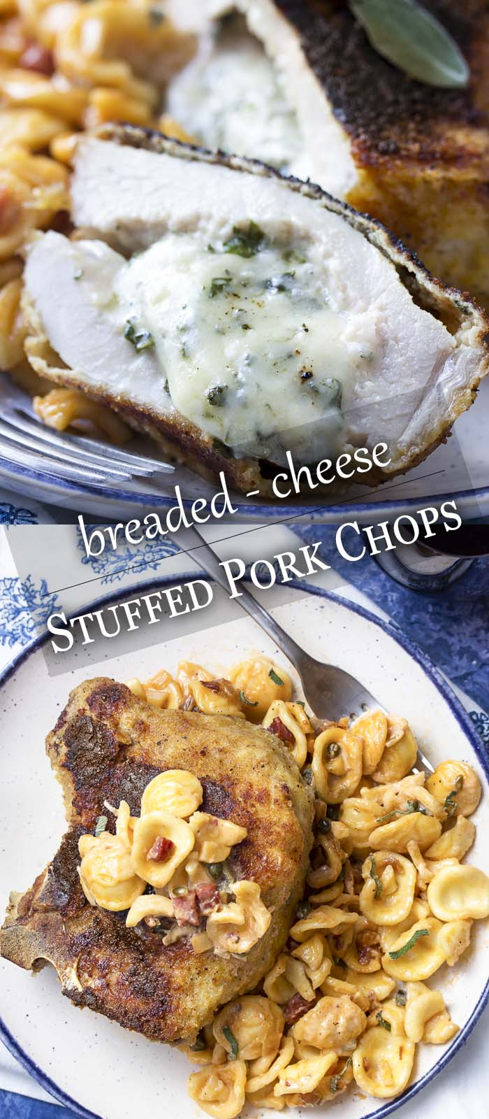 Pork chop on a plate and cut open showing the stuffing with text overlay - Stuffed Pork Chops.
