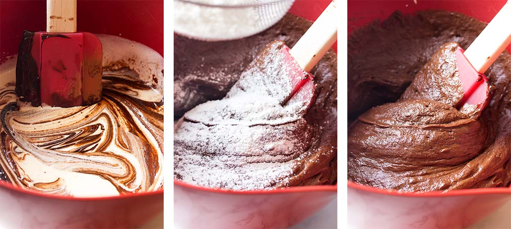 Step by step on how to mix fudgy brownie batter.
