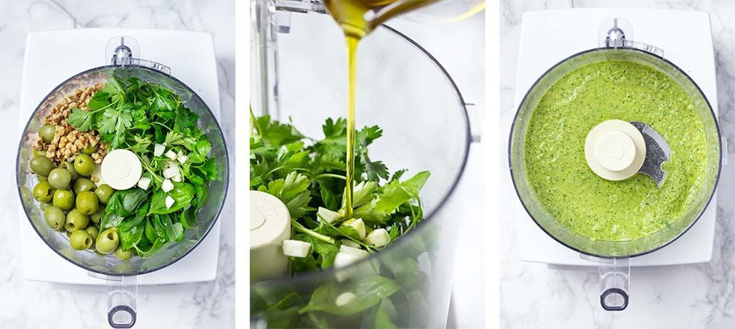 Step by step on how to make green olive pesto.