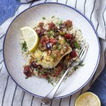 Pan Seared Cod with Tomatoes and Olives