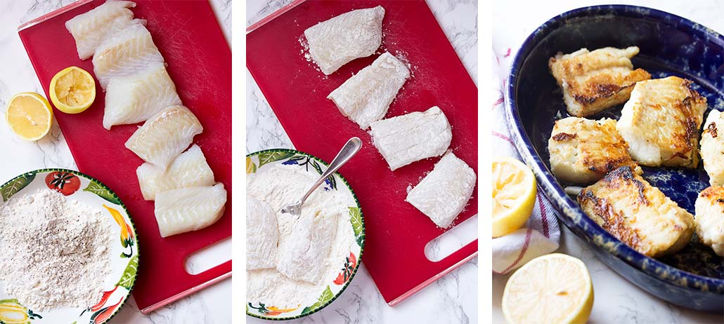 Step by step on how to make pan seared cod.