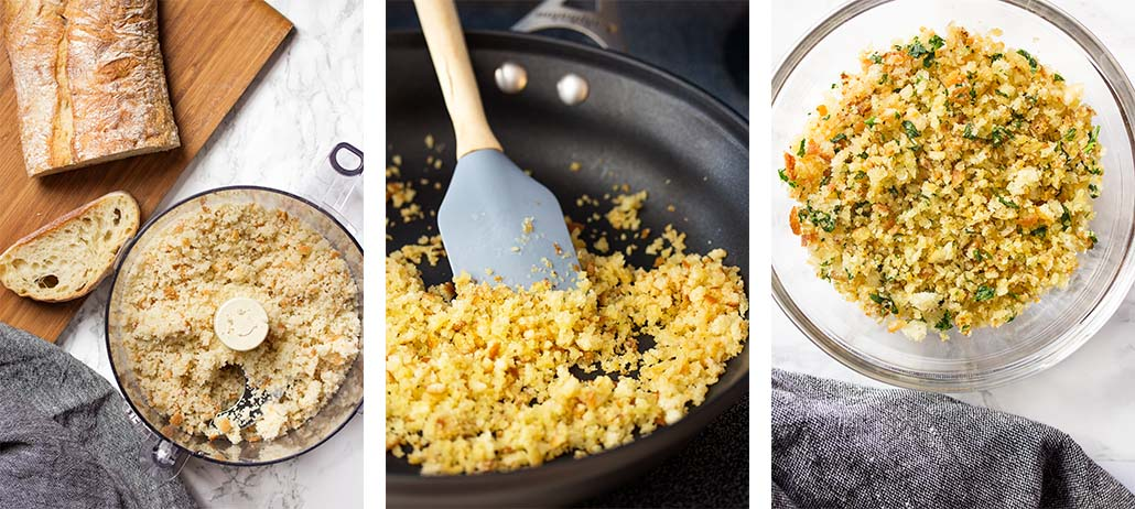 Step by step on how to make toasted breadcrumbs for pasta with cabbage.