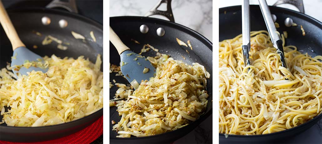 Step by step on how to caramelized the cabbage for pasta with cabbage.